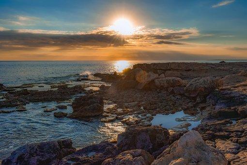Rocky Coast, Sky, Clouds, Sunset, Sea, Nature