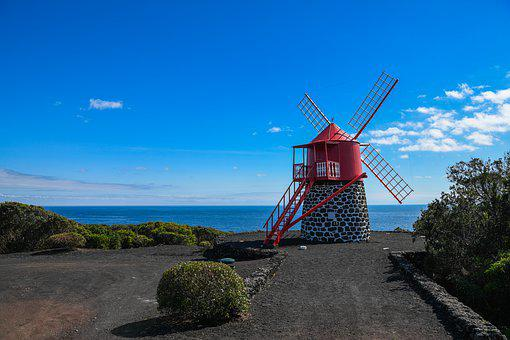 Azores, Windmill, Red, Sky, Mood, Small, Stone Wall