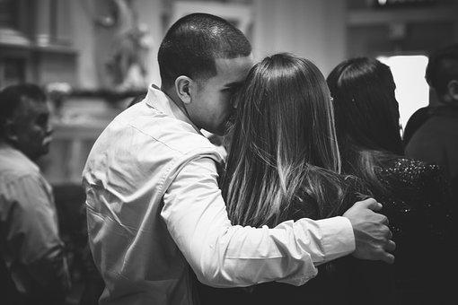 Couple, Church, Black And White, Love, Romance, Hug