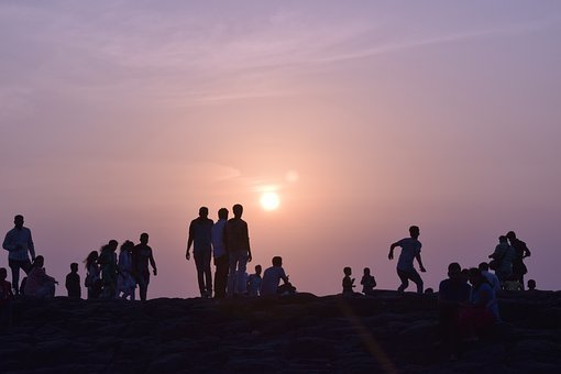 Sunset, Silhouette, People