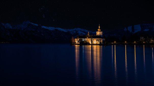 Castle, Star, Water, Mirroring, Traunsee Salzlammergut