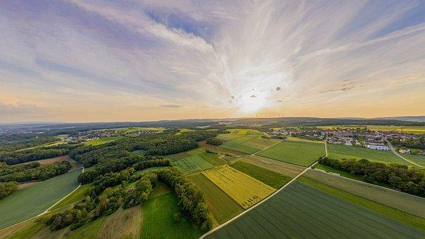 Aerial View, Switzerland, Sunset, Fields, Evening