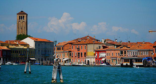 Burano, Venice, Waterfront, Tower, Leaning, Facade