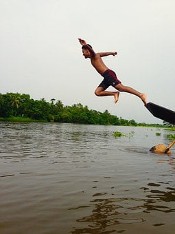 Man, Jump, Pond, Water, Boat, Jumping, People, Success