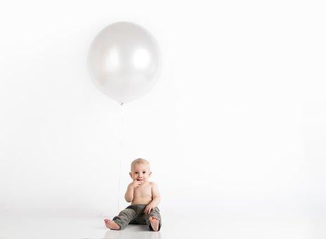 Balloons, Child, Baby, Minimalist, White Background