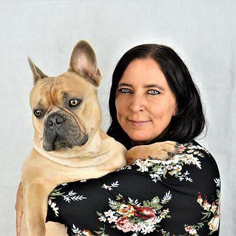 French Bulldog, Woman, Dog, On The Arm, Face, Portrait