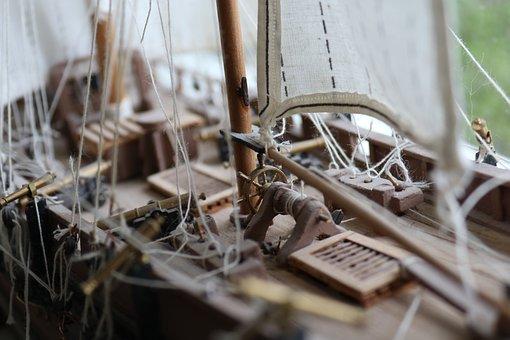 Boat, Model, Ship, Vessel, Tiller, Ropes, Sails