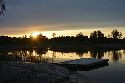 Summer, Evening, Sunset, Lake, Bridge, Calmly, Calm