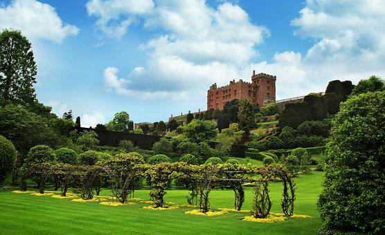 Powis, Castle, Wales, Park, Garden, Property, Green