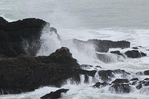 Rocks, Waves, Coast, Cornwall, Crashing, Water