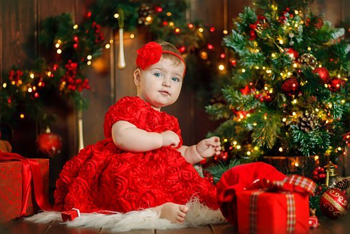 Kid, Girl, Child, Baby, Red, Dress, Light, Room