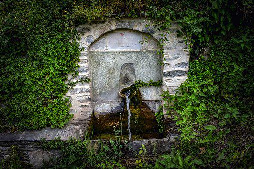 Fountain, Stone, Water, Old, Architecture, Village