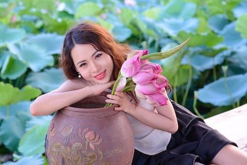 Beautiful, Lady, Girl, Young, Lotus, Vietnam