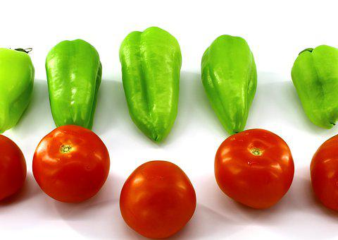 White Background, Food, Vegetables, Green, Red