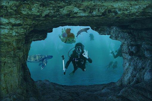 Underwater World, Divers, Swim, Cave, Hai, Girl, Turtle