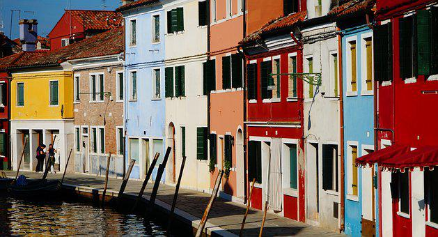 Burano, Venice, Italy, Street, Canal, Colorful