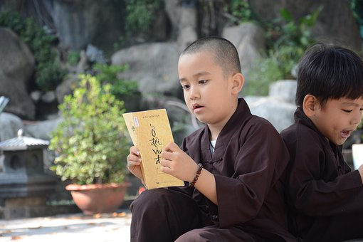 Monk, Little Monk, Buddha, Knowledge, Reading Books