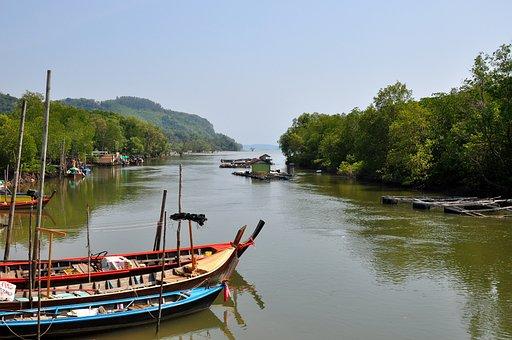 Thailand, Phuket, Boats, Long, Water, Landscape, Travel