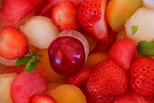 Fruit Salad, Strawberry, Cherry, Watermelon, Melon