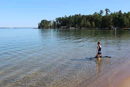 Water Skiing, Lake, Michigan, Woman, Landscape