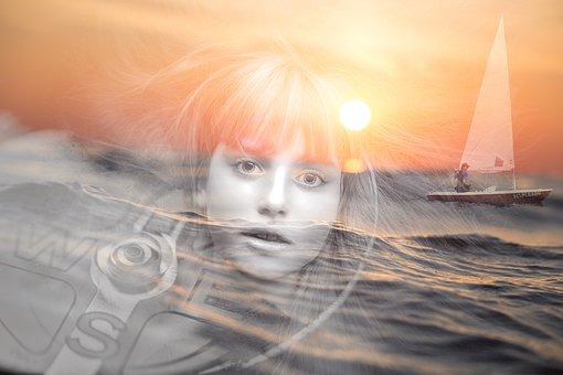 Girl, Woman, Sailboat, Ocean, Sunset, Sunrise, Compass