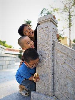 Monk, Little Monk, Buddha, Pagoda, 3 Children, Child