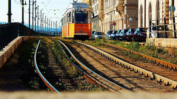 Electric, Budapest, Transport, City, Yellow, Rails