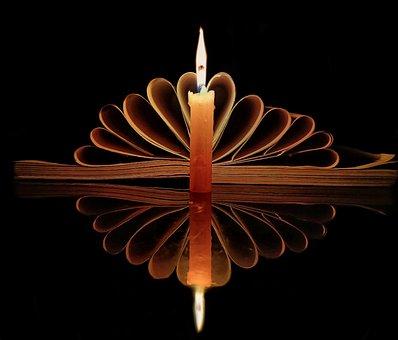 Candle, Lowlight, Yellow, Book, Pattern, Reflection