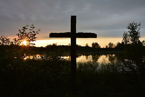 Cross, Sunset, Lake, Evening, Jesus, Faith, Religion