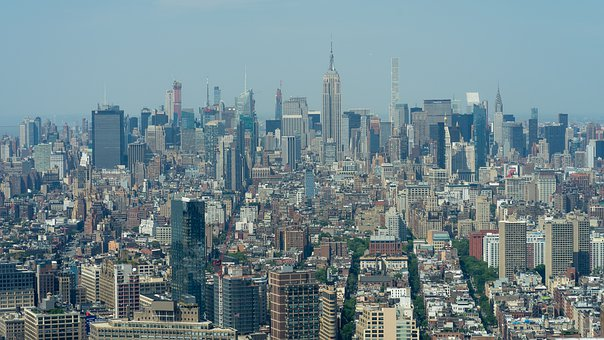 City, Nyc, Panorama, Downtown, Landmark, Road, Towers