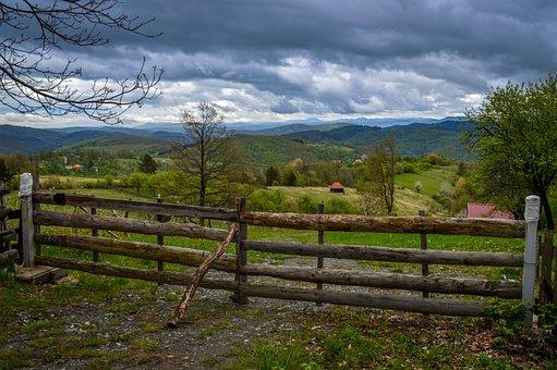Serbia, Tara, Mountain, Village, Fence, Clouds