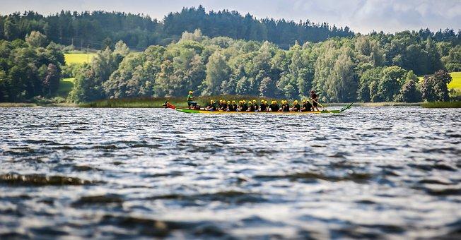 Lake, Boat, Rowing, Water, Blue, Landscape, Summer