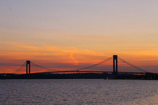 Bridge, Verrazano Bridge, Sunset, Bridge At Sunset