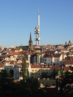 Prague, Zizkov, žižkov Tower, Panorama, View, Tv Tower