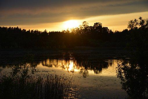 Summer, Evening, Sunset, Lake, Calmly, Calm, Water