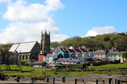 Wales, Aberaeron, City, Church, House, Colorful, Welsh