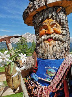 Gnome, Man, Wood, Funny, Mountain, Climber, Alps