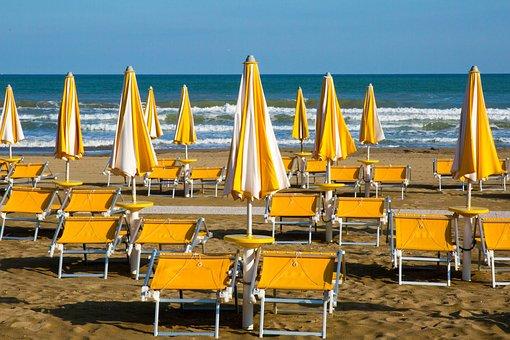 Beach, Sea, Italy, Sun Loungers, Parasols, Vacations