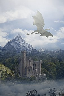 Dragon, Flying, Sky, Clouds, Mountains, Trees, Castle