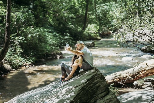 Selfie, River, Couple, Romantic, Vacation, Cell, Phone