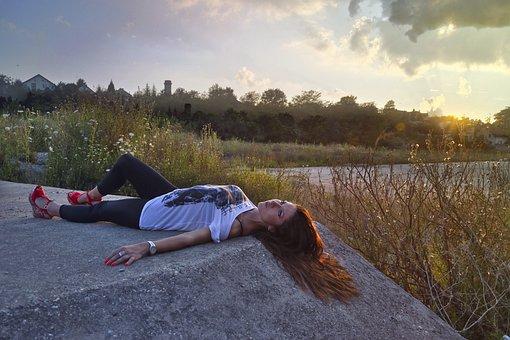 Sunset, Girl, Slender, Warm, Creepy, Dusk, Sky, Clouds
