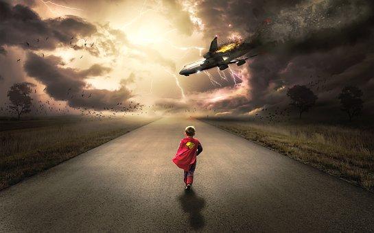 Boy, Child, Kid, Running, Super Hero, Superman, Costume