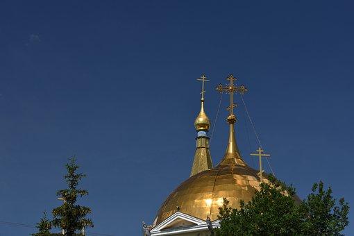 Church, Orthodox, Dome, Crosses, Novosibirsk, Russia