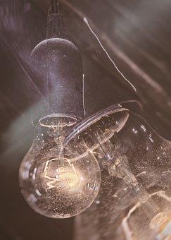 Lamp, Light Bulb, Double Exposure, Light, Current