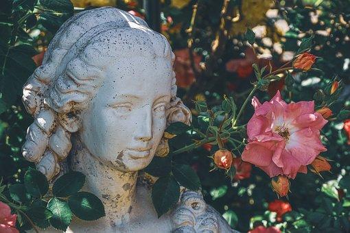 Figure, Statue, Woman, Garden, Rose Bush, Roses