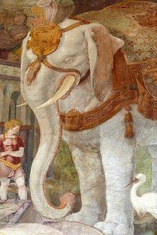 Fresco, Mural, Elephant, Stork, Art, Wall, Decoration