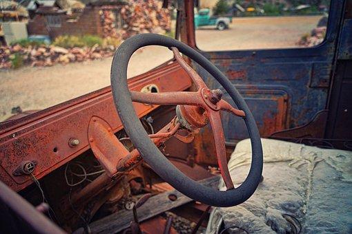 Cockpit, Oldtimer, Auto, Retro, Vehicle, Rust, Old