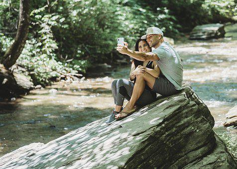 Selfie, River, Creek, Mountain, Rock, Boulder, Couple