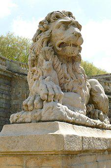 Lion, Squirrel, Image, Statue, Stone, Art, History