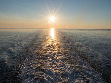 Ocean, Sunset, Wake, Sky, Sunrise, Nature, Evening